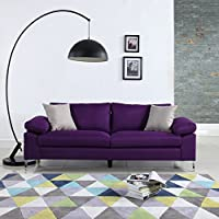 Modern Linen Fabric Sofa Low Profile Living Room Couch (Purple)