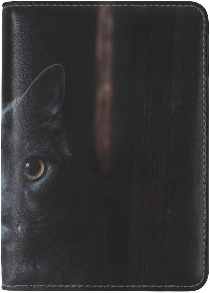 Cat Gray Glance Leather Passport Holder Cover Case Travel One Pocket