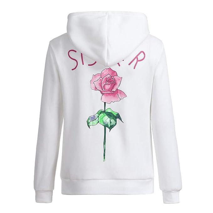 Cinnamou Sudadera Deporte Mujer Rosa Impresión de Letras Sister Sudadera Capucha Pullover Blusa Tops: Amazon.es: Ropa y accesorios