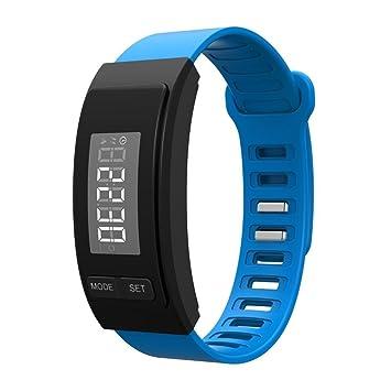 Kobwa LED resistente al agua Digital pantalla deportes reloj de pulsera, deporte pulsera podómetro reloj de goma unisex, color azul: Amazon.es: Deportes y ...