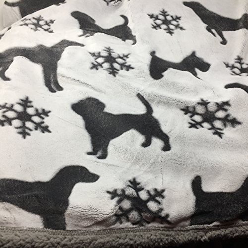 I Love My Pet Gray Pet Sherpa Lined Plush Throw Blanket -Gray with Dark Gray Dogs - Labs and Scotties