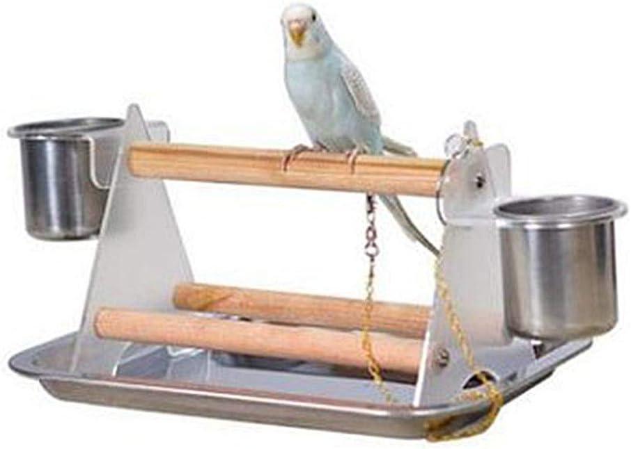 Dowoa Juguete de trípode de Madera, Juguete de Mesa Juguete de trípode Externo portátil Perchas Juguete de Soporte Juguete de Plataforma al Aire Libre para Juguete de pájaro Loro