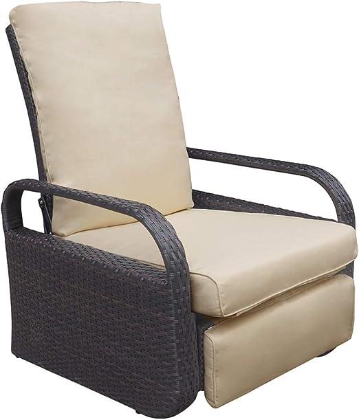 Sillón reclinable de mimbre con cojines, mueble para exterior, resistente a la intemperie: Amazon.es: Jardín
