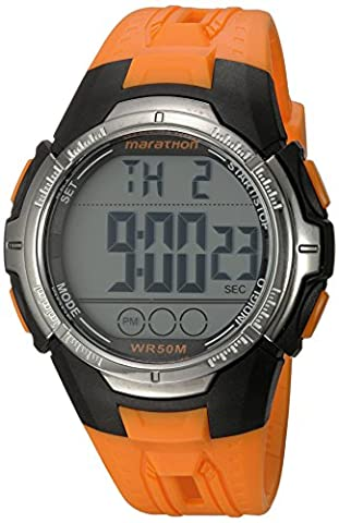Marathon by Timex Men's TW5M06800 Digital Full-Size Orange/Black Resin Strap Watch (Chrono Watch Sport)