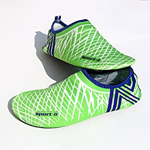 T&Mates Water Skin Shoes Aqua Socks Quick-Dry for Beach Swim Surf Yoga Exercise for Womens and Mens (Light Green, L)