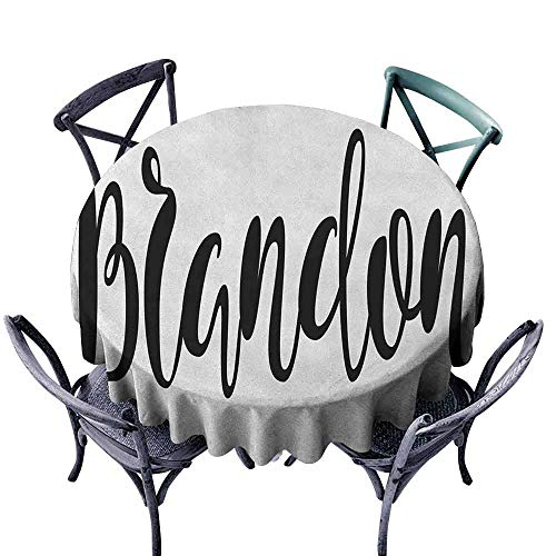 G Idle Sky Brandon Easy Care Tablecloth Widespread Name Design with Monochrome Artistic Letters Cursive Font Pattern Indoor Outdoor Camping Picnic D55 Black and White