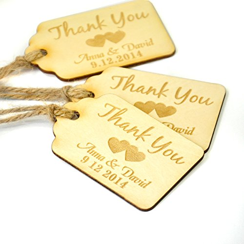 Personalized Thank You Wedding Tags,50 Pieces Custom Engraved Wooden Tags, Wedding Favor Tags, Rustic Wedding , Bridal Shower Favor Tags -