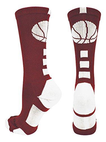 MadSportsStuff Basketball Logo Athletic Crew Socks, Medium - Maroon/White