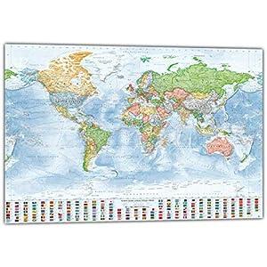 J.Bauer Karten XXL Mapamundi político Gigante, 220×144 cm, en Inglés, edición de 2019