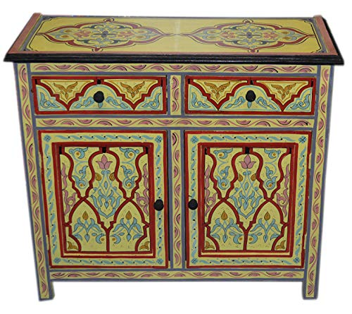 Moroccan Dresser Night Stand Table Arabesque Wood Moorish Hand Painted ()