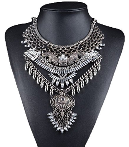 YR.Lover Fashion Vintage Crystal Zinc Alloy Big Pendant Bib Chain Statement Necklace for Women