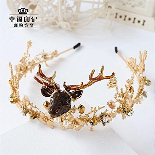 Lucky Crystal Horn - Generic Grotesque little lucky elk horn jewelry crystal hair accessories photographed column tiara crown tiara bridal studio with jewelry
