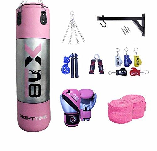 Xn8Satz gefüllte Boxsäcke 122 cm / 152 cm inklusive Halterung MMA Training, Set mit Handschuh-Pads, Boxbandagen, Springseil, Silber / Pink, 152 cm