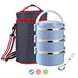 Themral Lunch Box, Arderlive Stackable Insulated 18/8 Stainless Steel Lunch Container With Denim Lunch Bag, Portable & Leakproof. (3-Blue)