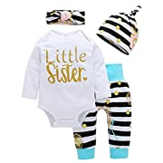 Happy Kido Baby Girls Clothes Little Sister Long Sleeve Romper+Striped Long Pants+Hat 4Pcs (6-12 Months, White Stripe)