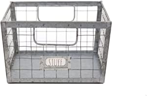 Rae Dunn Wire Storage Basket – Galvanized Steel and Solid Wood Organizer – Decorative Folder Bin with Two Handles and Label Slot - for Office, Bedroom, Living Room, Closet and More