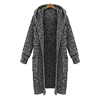 JIANLANPTT Women's Fashion Long Hooded Cardigan Sweater Coat with ...