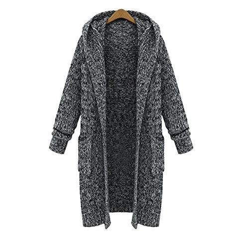 JIANLANPTT Women's Fashion Long Hooded Cardigan Sweater Knitwear Coat with Pocket Grey 3XL=US XL