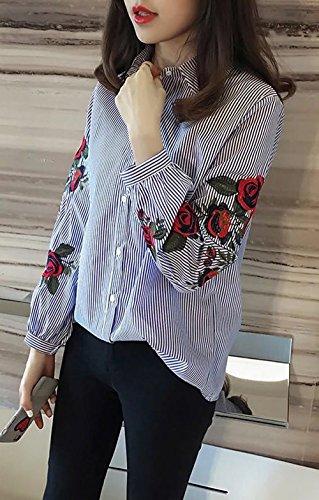 et Monika Longues Casual Bleu Fashion Broderie Haut Manches Tops Automne Chemisiers Revers Chemise Printemps Lache Blouses Femme BqwrxqUS5