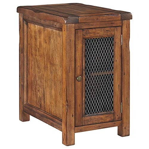 - Ashley Furniture Signature Design - Tamonie Chair Side End Table with 2 Shelves Mesh Insert - Brown