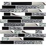 glass tile bathroom TST Glass Metal Tiles Art Mosaic Silk Black Crystal Glass Chrome Silver Steel Accent Wall Border Kitchen Bath Backsplash Tile TSTNB12 (1 Sample 4x12 inches)