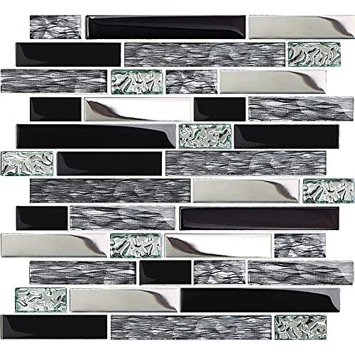 TST Glass Metal Tiles Art Mosaic Silk Black Crystal Glass Chrome Silver Steel Accent Wall Border Kitchen Bath Backsplash Tile TSTNB12 (11 Square Feet)