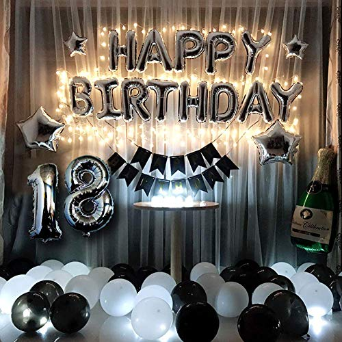 18th Birthday Party Decorations Kit Black and Silver Birthday Balloons - Led Birthday String Lights, Sliver 18 Foil Balloon, Happy Birthday Banner, Star, Black & White Latex Balloons