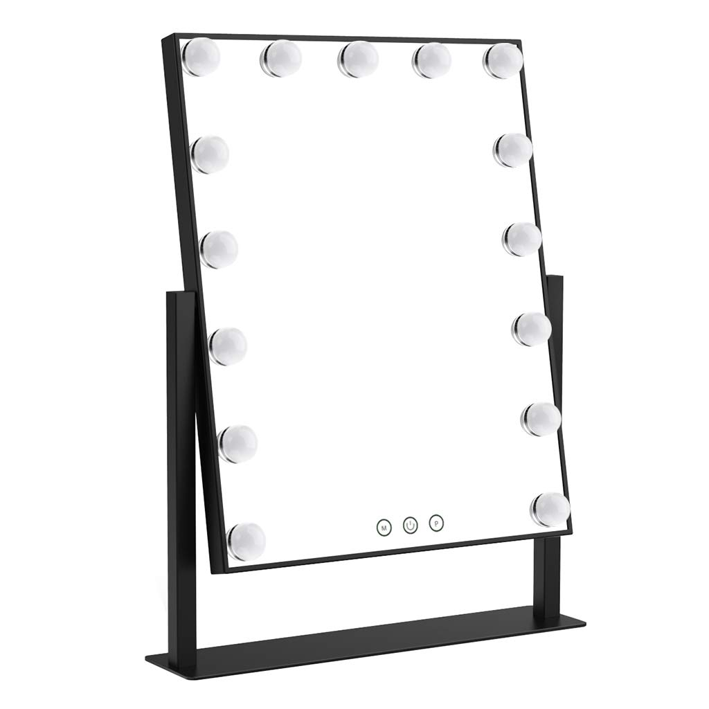 Ovonni Lighted Vanity Makeup Hollywood Style Mirror, Dimmable Tabletop Cosmetic Mirror with LED Bulbs, Touch Control and Plug Powered (15 Blubs, Black)