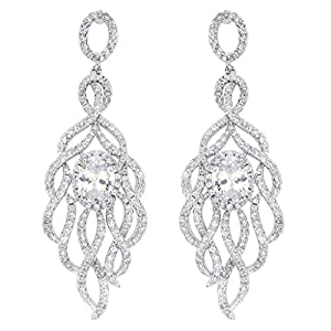 EVER FAITH 925 Sterling Silver CZ Charming Peacock Feather Wedding Dangle Pierced Earrings