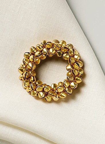 Gold Jingle Bell Napkin Rings Set of 4