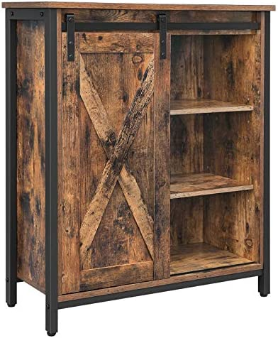 VASAGLE Storage Cabinet Cupboard, Multipurpose Cabinet with Adjustable Shelves, Sliding Door, Steel Frame, for Kitchen, Living Room, Entryway, Industrial, Rustic Brown and Black ULSC88BX