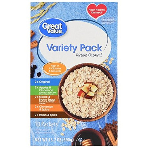 Heart Healthy Instant Oatmeal, Variety Pack, 13.7 oz, 10 Count 2 Pack by Great Value