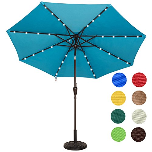 Sundale Outdoor Solar Powered 32 LED Lighted Outdoor Patio Umbrella with Crank and Tilt, 9 Feet (Blue)