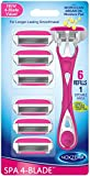 NOXZEMA SPA 4 blade Razor Handle with 6 Refill Cartridges, 6...