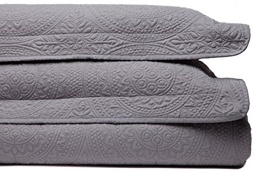 UPC 817797020797, Chanasya Designer Detail Beautiful Thread Embriodary Classic Quilted Pattern 3-Piece Bedspread Coverlet Set- Gray