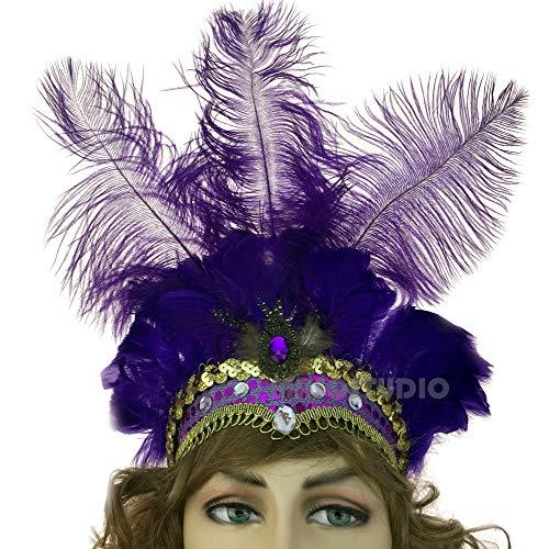 (MasqStudio Show Girl Carnival Festival Masquerade Party Headpiece Ostrich Feather Headband Headdress (Purple))