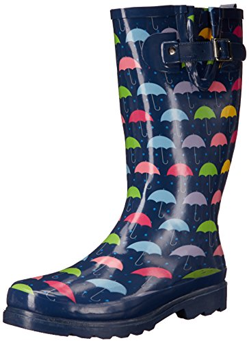 Western Chief Women Waterproof Printed Tall Rain Boot, Umbrella Days, 8 M (Shaft Rain Boot)