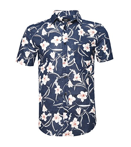Blue Striped Camp Shirt (ALTOGUSTO Men's Flower Print Casual Button Down Short Sleeve Shirt Hawaiian ShirtsPrint4M)