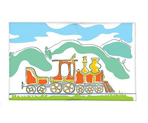 Interestlee Fleece Throw Blanket Steam Engine Colorful Small Old Train in Country Retro Kids Art Vintage Cartoon Print Green Blue - Steam Engine Hudson