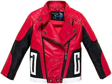 Budermmy Boys Leather Motorcycle Pilot Jackets Toddler Coats (11-12 Year Red and Black)
