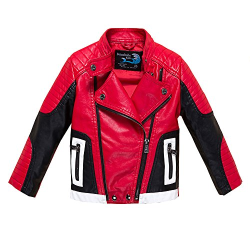 Budermmy Boys Leather Motorcycle Pilot Jackets Toddler Coats (11-12 Year, Red and Black)