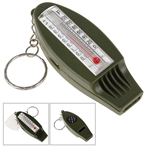 【Best Deals for Christmas】OriGlam Four Function Survival Whistle, Multifunctional Outdoor Sport Emergency Whistle + Compass + Thermometer + Magnifying for Kids Camping Gear with Key Ring