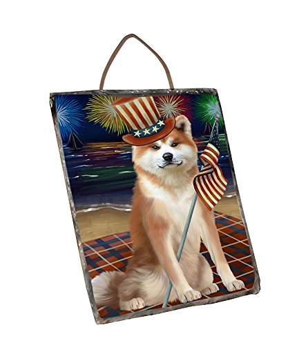 Akita Slate (Doggie of the Day 4th of July Independence Day Firework Akita Dog Wall Décor Hanging Photo Slate SLTH51998)