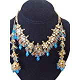 Gold Tone Partywear Jewelry Turquoise Kundan Polki Necklace Set Earrings