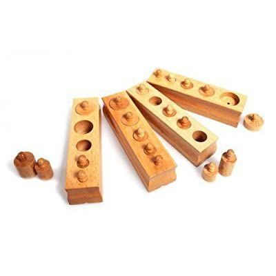Mini Knobbed Cylinders Set of 4 Children Wooden Toys: Toys & Games