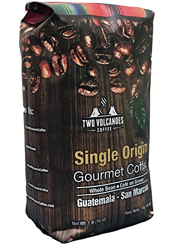 Two Volcanoes Coffee – Gourmet Guatemala Whole Bean Medium Roast Single-Origin Coffee. 1 lb