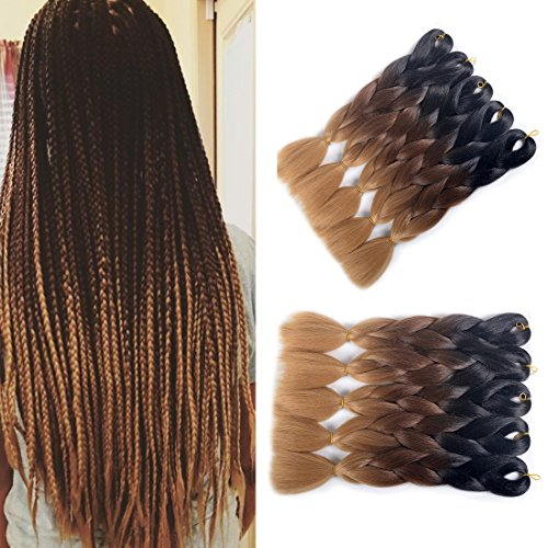 MSHAIR Ombre Jumbo Braiding Hair Extension Synthetic Kanekalon Fiber for Twist Braiding Hair Black/Dark Brown/Light Brown Color 24 Inch 5 Pieces/lot