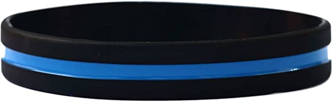 SayitBands One Inch Wide Simple Swirl Red White Blue Silicone Wristband