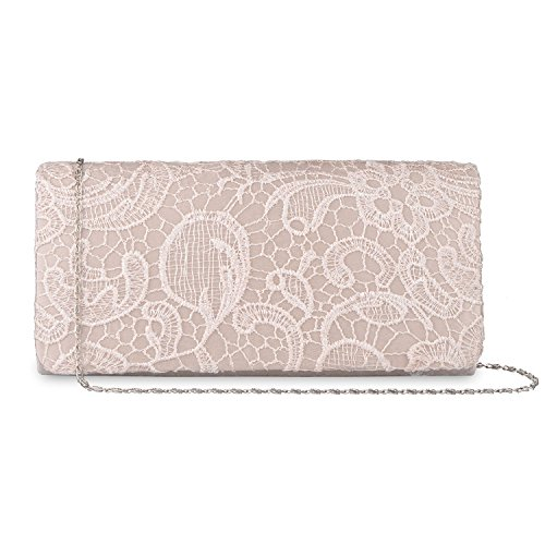 Clutch Floral Bridal Lace Handbag Evening Party Purse Wedding Bags Lifewish Beige Purse Women's xYfaZnwqO