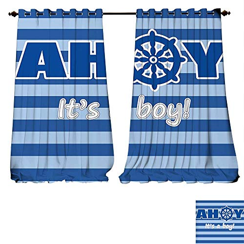 The Winnie Baby Monitor Pooh (Thermal Insulating Blackout Curtain Ahoy Its a Boy Baby Shower New Birth Announcement Marine Wheel Striped Backdrop Light Blue Blue White Patterned Drape For Glass Door (W107 x L107 -Inch 2 Panels))